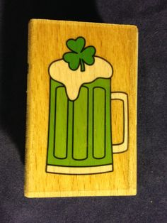 Green Irish Beer Stamp    NEW   Wood by CynthiasCraftingNook, $3.00