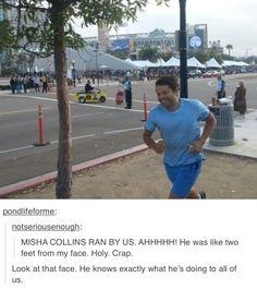 Misha Collins. Jogging by Comic Con.