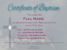 Download Free Baptism Certificate on your computer.
