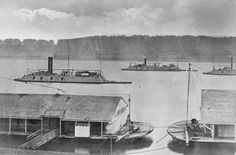 1864 Union gunboats DeKalb, Mound City and Cincinnati in the Mississippi River.