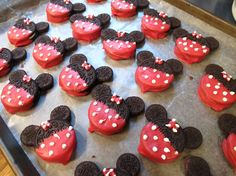 Minnie Mouse Oreo cookie heads.  I used a large Oreo and 1 mini Oreo split in half for the ears!  All held together by melting chocolate.