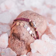 """The Buddha macramé bracelet pack is a set of 2 bracelets and is inspired by the peaceful and healing teachings Of Buddha. The word Buddha means """"he who is Awake"""", accordingly Buddha himself teaches us to develop awareness, Kindness and wisdom. The bracelet pack also features gold plated sequin chain and adjustable sliding knots."""