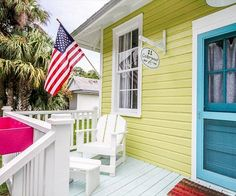Flag out for th 4th of July... coming up soon. Beach cottage on Tybee: http://beachblissliving.com/tybee-island-beach-cottages/