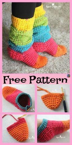 Crochet Chunky Cake Slipper Socks - Free Pattern - Apryl ideas for women Easy Crochet Slippers, Crochet Slipper Boots, Crochet Slipper Pattern, Crochet Shoes, Slipper Socks, How To Crochet Socks, Chunky Crochet, Diy Crochet, Crochet Crafts