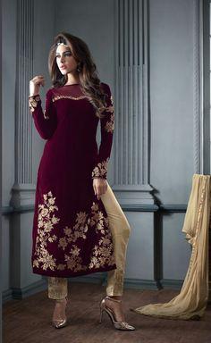 Maroon Velvet Pakistani Style Suit 65574