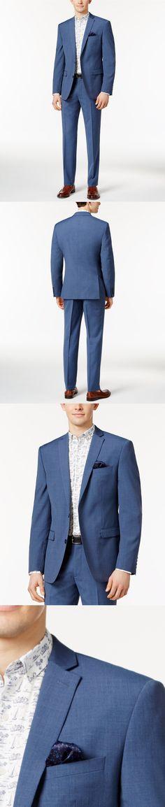 Suits 3001: $746 Bar Iii Men Blue Slim Fit 2 Piece Button Wool Suit Jacket Blazer Pants 44 R -> BUY IT NOW ONLY: $94.95 on eBay!