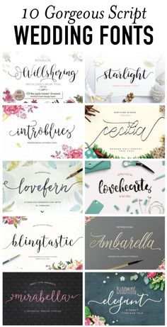 Wedding fonts image.