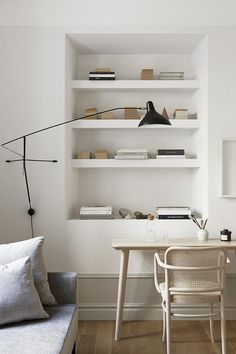 my scandinavian home: A desk in a small Swedish space in creams and milky whites