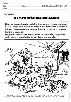 A importância do Amor – Ensino Religioso – 5º ano - #5º #amor #ano #ensino #importancia #religioso Professor, Homeschool, Education, Comics, Kids, Fictional Characters, Halloween, Kids Bible Activities, Literacy Activities