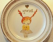 Love Yourself Deer Child decorative plate. (etsy treasury: I must love myself first)