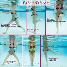 Change up your regular workout routine with this fun water fitness workout., Change up your regular workout routine with this fun water fitness workout. Change up your regular workout routine with this fun water fitness. Water Aerobic Exercises, Swimming Pool Exercises, Water Workouts, Water Aerobics Workout, Water Aerobics Routine, Workout Exercises, Swim Workouts, Bike Workouts, Swimming Tips