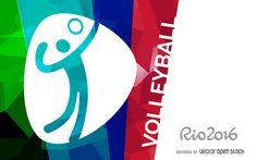 Bright Rio 2016 design featuring the official volleyball pictogram. Includes Rio 2016 logo at the left side and it also says volleyball in big capital letters. Free Vector Graphics, Vector Art, Volleyball Designs, Rio Olympics 2016, Rio 2016, Banner Vector, Layout Template, Pictogram, Olympic Games