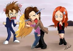 The Doctor, Rose, Amy and 10.2