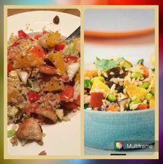 Lekkere, frisse salade. Kip in stukjes gebakken, zilvervliesrijst(of quinoa of een mix ervan), paprika, kool, wortel, sinaasappel, rozijnen met een dressing van sinaasappel, appelciderazijn, honing, olijfolie, zout en peper. Lekker!