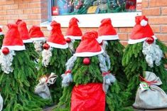 Scandinavian Christmas gnomes are easy and cheap DIY Christmas yard decorations! We show you how to make easy evergreen gnomes for porch, Diy Christmas Yard Art, Diy Christmas Yard Decorations, Candy Cane Decorations, Holiday Decor, Xmas, Pallet Christmas, Outdoor Decorations, Holiday Treats, Christmas Makes
