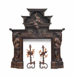 A FRENCH CHINOISERIE CARVED HARDWOOD AND RED LACQUERED FIRE-SURROUND | ATTRIBUTED TO GABRIEL VIARDOT, PARIS, LAST QUARTER 19TH CENTURY | late 19th Century, fire surround | Christie's Fire Surround, Japanese Aesthetic, Victoria And Albert Museum, Victorian Era, Chinoiserie, Gabriel, 19th Century, Hardwood, Carving
