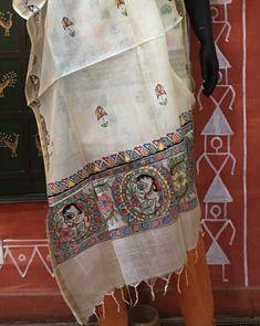 Madhubani Tussar Silk Dupattas by AahanaCrafts Madhubani Art, Madhubani Painting, Textile Prints, Textiles, Hand Painted Dress, Indian Art Paintings, Fabric Painting, Kurti, Hand Weaving