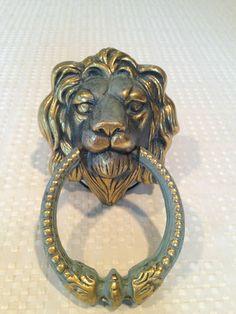 Vintage Antique Patina Brass Gothic Lion Head Door Knocker