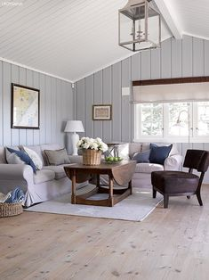 Coastal Home Interior Cottage Living Rooms, Living Room Decor, Wood Paneling Makeover, Le Living, Painted Wood Walls, Piece A Vivre, Scandinavian Home, Room Inspiration, Family Room