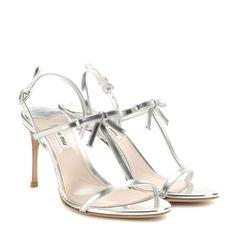 Miu Miu - Metallic leather sandals  @ www.mytheresa.com