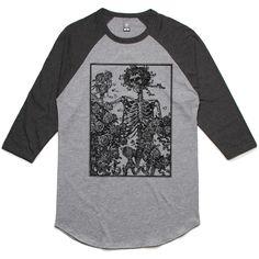 theIndie Skeleton & Roses (Black) 3/4-Sleeve Raglan Baseball T-Shirt