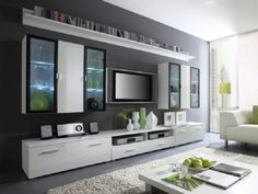 white bookcases with blue gray walls - Google Search