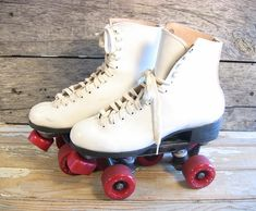 Vintage Roller Derby Skates White Leather Women's Size 8 Urethane Wheels 1980s Indoor Skating Sports Equipment