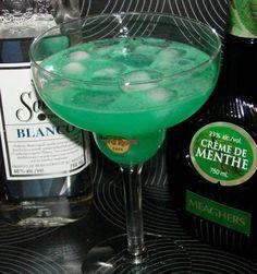 Irish Margarita    1/2 ounce creme de menthe  2 ounces tequila  1/2 ounce triple sec  2 ounces prepared sweet-and-sour mix