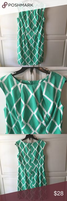 Flash Sale! Green Pleated Neck Dress New with tags. Available in size 10 only (size 12 has been sold). Stunning green and white dress perfect for Easter and Spring! Love this dress but the neckline was just a tad too high for me, and it bothers an old surgery scar on my neck. Pleated neckline, cap sleeves. Very comfortable fabric with a hint of stretch. Back zipper. Comes with matching belt. Dress is slightly more vibrant than the pictures (at least on my phone). The last picture is closest…