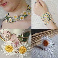 Totally Handmade Needle Lace Daisy Ring.Buono! Unendo tecniche diverse!