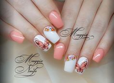 Coral and white, butterfly nail art Hair And Nails, My Nails, Beauty Nails, Hair Beauty, Butterfly Nail Art, White Butterfly, Nail Mania, Nail Arts, Cute Nails