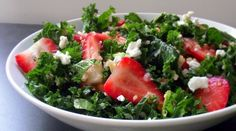 Kale, quinoa, strawberry salad