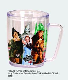 Item No. SP441 Dimensions: 4 3/4 inches in Height Made of Acrylic Holds 16 ounces Double walled, BPA Free, Can be used for both Hot and Cold Drinks Dorothy, Scarecrow, Tin Man, & the Cowardly Lion fro