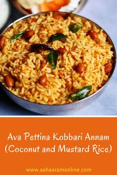This spicy Coconut and Mustard Rice is a nice change from the traditional coconut rice. The spiciness of the chillies and mustard mixed with the coolness of coconut make this rice delightful.  #Karnataka #Food #IndianFood #Recipe #Coconut #Mustard #Rice Andhra Recipes, Indian Food Recipes, Ethnic Recipes, Rice Recipes, Vegetarian Recipes, Vegan Vegetarian, Rice Dishes, Vegan Dishes
