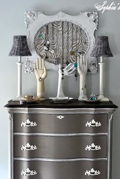 Color: Coco, Annie Sloan Chalk Paint. Beautifully redone dresser from Sophias.