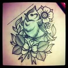 Little dude and wreath for tomorrow :) #bird #wreath #leaves #flowers #tattoo #tattoos