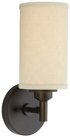 Kitchen  Living Room, Fireplace - x3 - Forecast Lighting F1304 20 Embarcadero One Light Wall Sconce with Vanilla Fabric Shades and Etched White Glass Sorrel Bronze