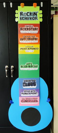 "Clip chart for behavior management in the classroom. Students have the opportunity to move in a positive and negative direction throughout the day. Each student starts on ""Let's rock-n-roll"". Music Classroom, School Classroom, Classroom Themes, Classroom Organization, Future Classroom, Classroom Rules, Classroom Environment, Classroom Procedures, Music Teachers"