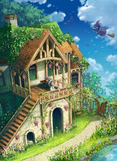 ArtStation - The witch house, Zhowee Zhoung Fantasy Art Landscapes, Fantasy Landscape, Landscape Art, Fantasy House, Fantasy World, Shotting Photo, Japon Illustration, House Illustration, Fantasy Concept Art