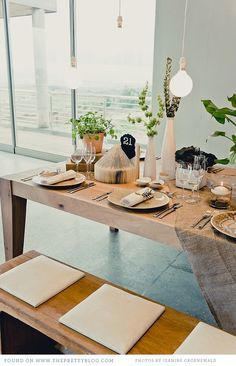 Nature and wood table setting