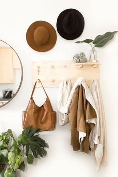 Leather hobo bag women - 13 inch laptop bag - Full grain leather shoulder bag - With pockets - Detachable crossbody strap Wall Storage, Storage Spaces, Metal Wall Grid, Wooden Pegboard, Small Wooden Shelf, Wall File Holder, Pegboard Organization, Bedroom Organization, Wall Mounted Coat Rack