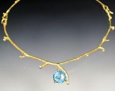 Sam Shaw Jewelry Twig necklace with aquamarine