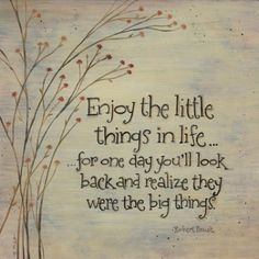 """Enjoy the little things in life... for one say you'll look back and realise they were the big things."""