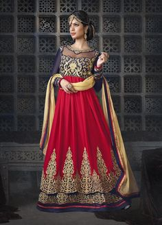 Red and Blue Double Layered Anarkali