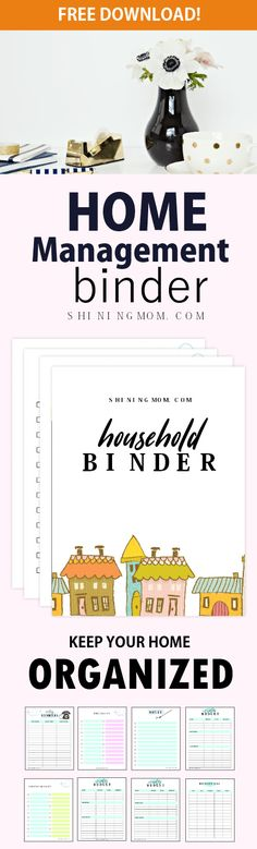 You'll love to use this free home management binder to help you manage your household tasks! #planner #home #shiningmomprintables