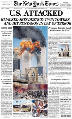 September 11, 2001. Hijacked jets destroy the World Trade Center Towers in New York City and severely damage the Pentagon in Washington D.C.  Hijacked flight, United 93, crashed in Pennsylvania following an epic battle for control of the plane.