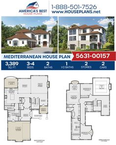 Covered in desirable Mediterranean details, Plan 5631-00157 offers 3,389 sq. ft., 3-4 bedrooms, 2.5 bathrooms, a kitchen island, an open floor plan, a media room, a mudroom, an office, and a sitting room. #architecture #houseplans #housedesign #homedesign #homedesigns #architecturalplans #newconstruction #floorplans #dreamhome #dreamhouseplans #abhouseplans #besthouseplans #newhome #newhouse #homesweethome #buildingahome #buildahome #residentialplans #residentialhome Best House Plans, Dream House Plans, House Floor Plans, Floor Plan Drawing, Mediterranean House Plans, Stucco Exterior, Construction Cost, Build Your Dream Home, Open Floor