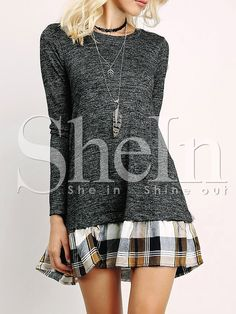 Shop Grey Long Sleeve Contrast Plaid Dress online. SheIn offers Grey Long Sleeve Contrast Plaid Dress & more to fit your fashionable needs.