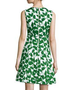 garden leaves pique a-line dress