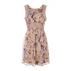 Womens Pink Floral Lace Insert Dress (€24) ❤ liked on Polyvore featuring dresses, pink floral dress, floral print dress, round neck dress, floral printed dress and flower print dress